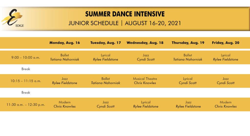 Junior summer intensive schedule