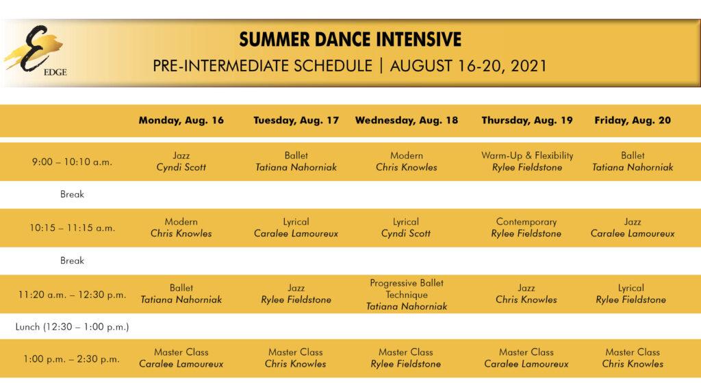 pre-inter summer intensive schedule