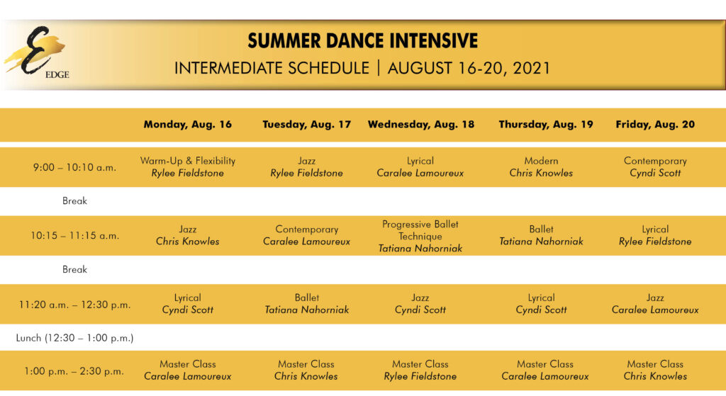intermediate summer intensive schedule
