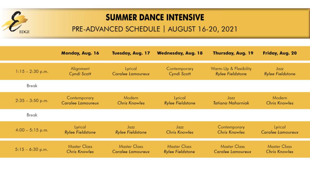 pre-advanced summer intensive schedule