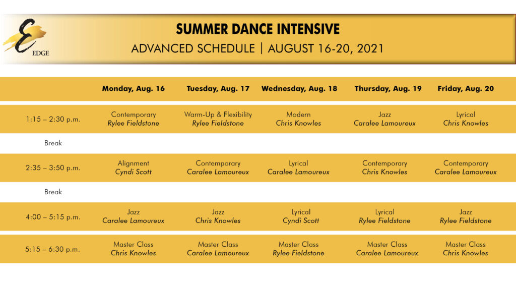 advanced summer intensive schedule